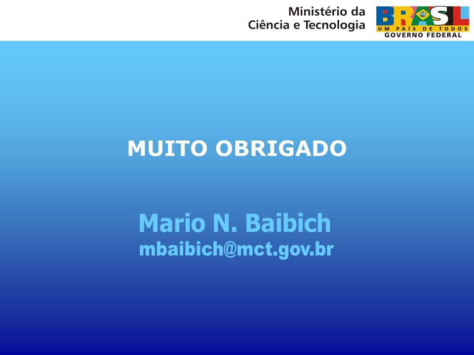 MUITO OBRIGADO Mario N. Baibich mbaibich@mct.gov.br