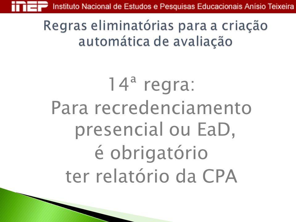 Regras eliminatórias para a criação automática de avaliação