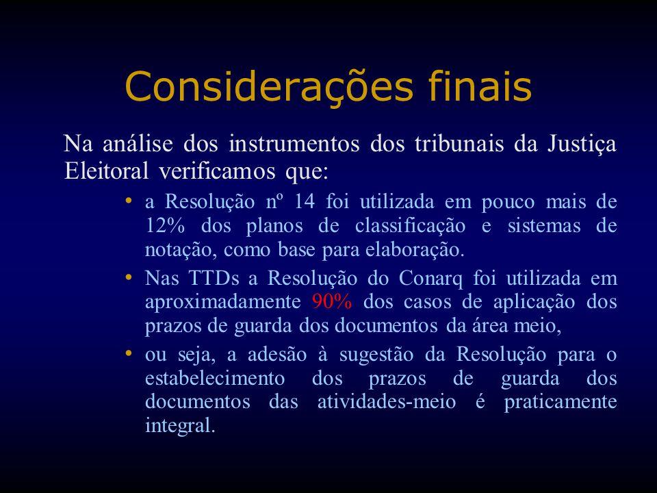 Considerações finais Na análise dos instrumentos dos tribunais da Justiça Eleitoral verificamos que: