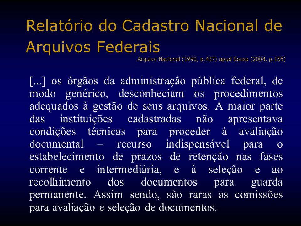 Relatório do Cadastro Nacional de Arquivos Federais Arquivo Nacional (1990, p.437) apud Sousa (2004, p.155)