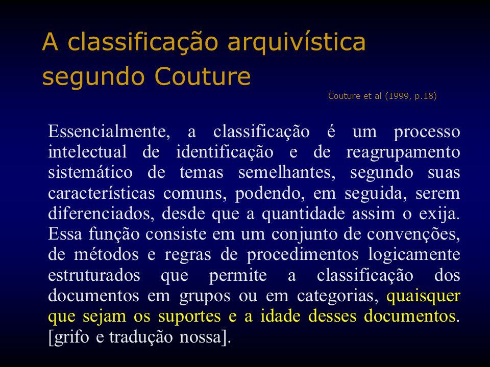 A classificação arquivística segundo Couture Couture et al (1999, p