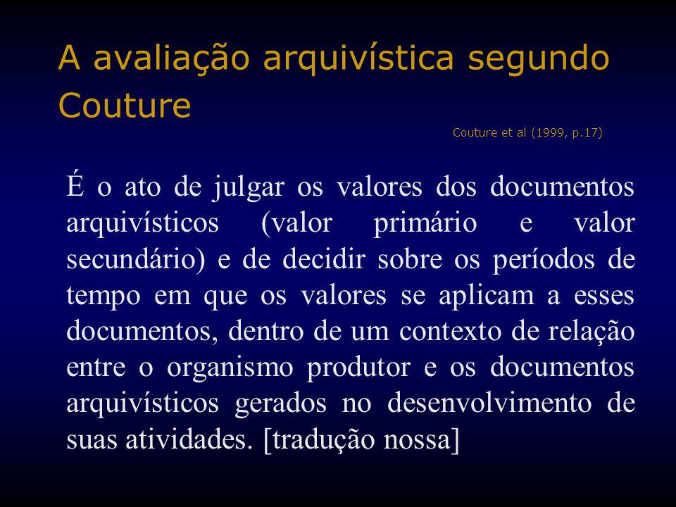 A avaliação arquivística segundo Couture Couture et al (1999, p.17)