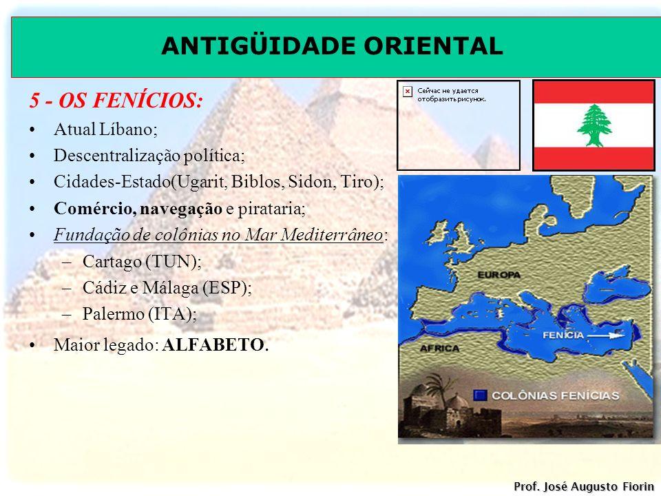 5 - OS FENÍCIOS: Atual Líbano; Descentralização política;