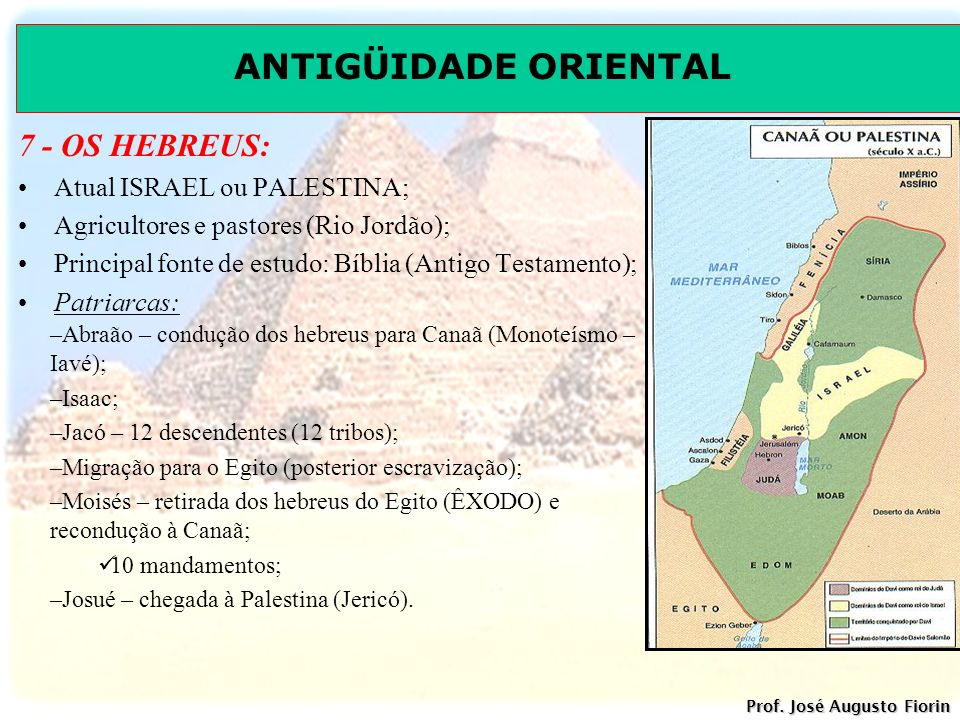 7 - OS HEBREUS: Atual ISRAEL ou PALESTINA;