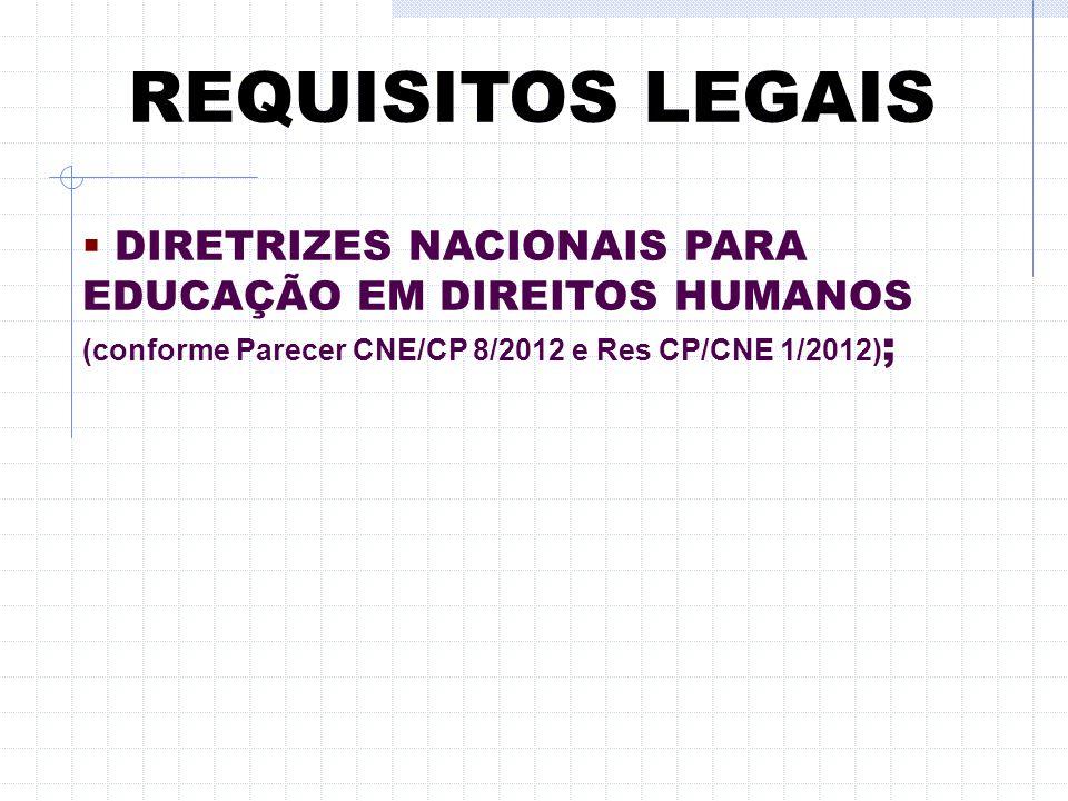 REQUISITOS LEGAIS DIRETRIZES NACIONAIS PARA EDUCAÇÃO EM DIREITOS HUMANOS (conforme Parecer CNE/CP 8/2012 e Res CP/CNE 1/2012);