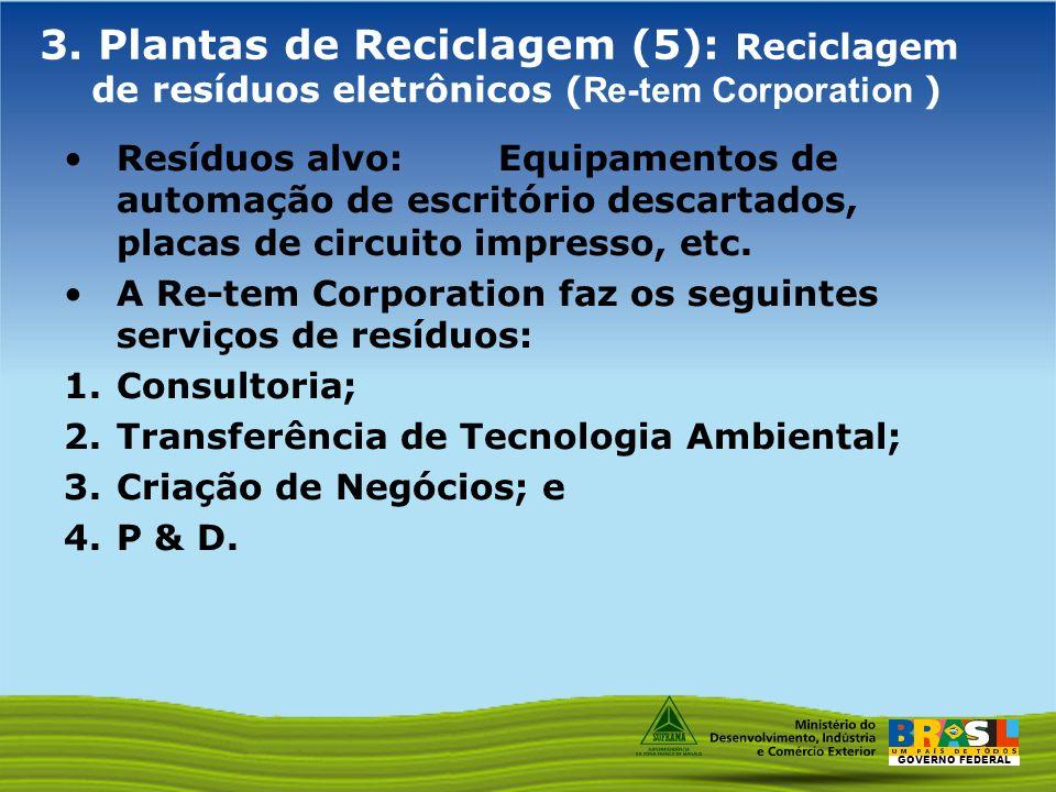 3. Plantas de Reciclagem (5): Reciclagem de resíduos eletrônicos (Re-tem Corporation )