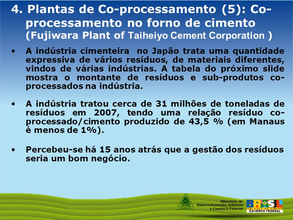 4. Plantas de Co-processamento (5): Co-processamento no forno de cimento (Fujiwara Plant of Taiheiyo Cement Corporation )