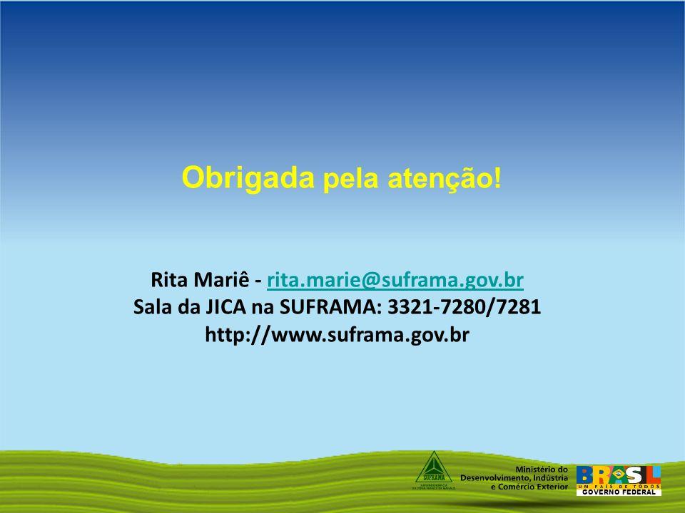 Obrigada pela atenção! Rita Mariê - rita.marie@suframa.gov.br