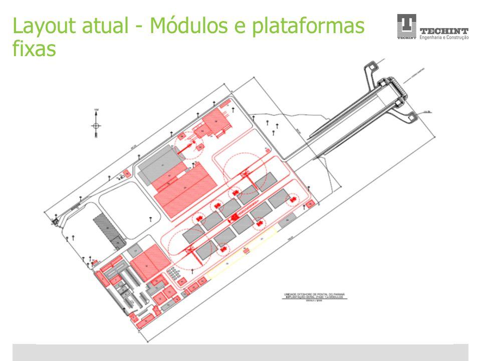 Layout atual - Módulos e plataformas fixas