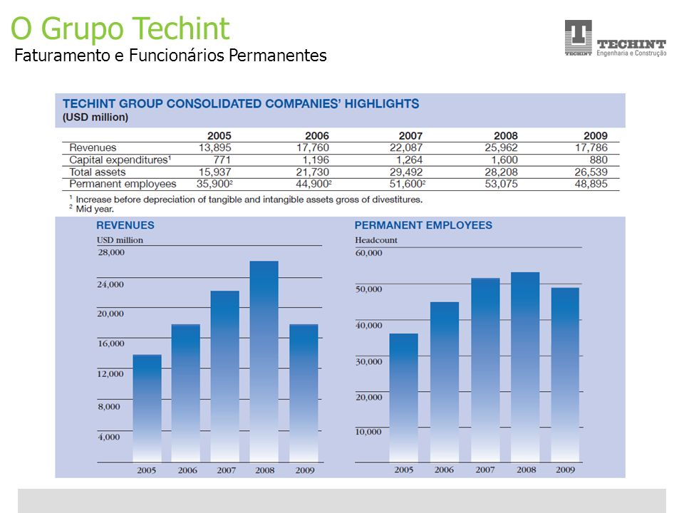 O Grupo Techint Faturamento e Funcionários Permanentes
