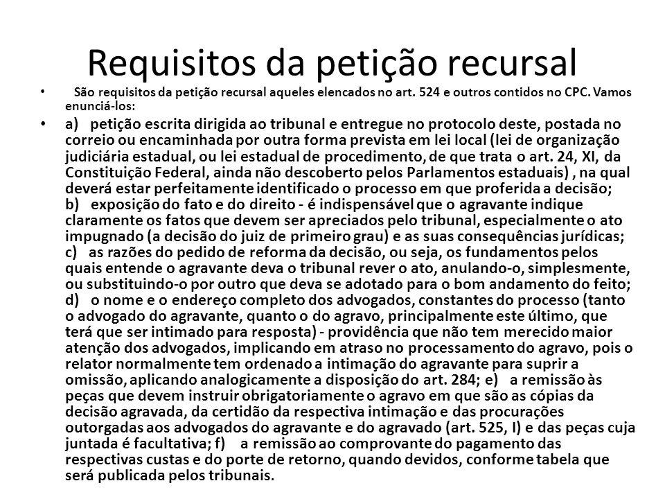 Requisitos da petição recursal