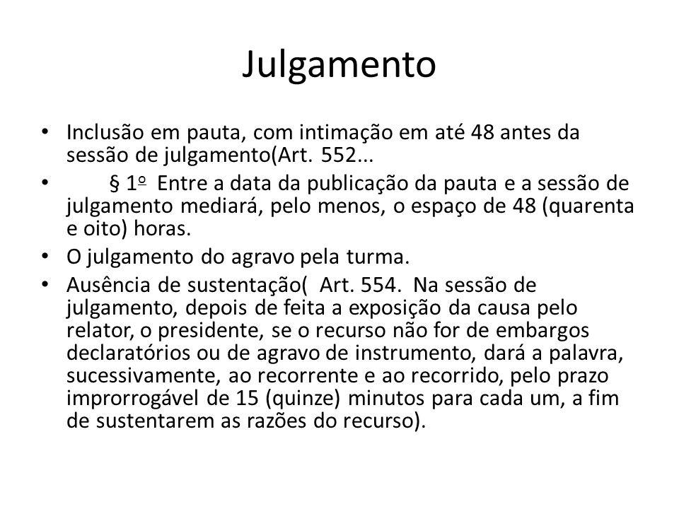 Julgamento Inclusão em pauta, com intimação em até 48 antes da sessão de julgamento(Art. 552...