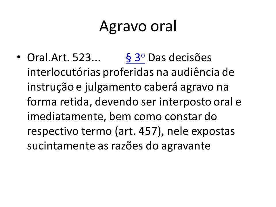 Agravo oral