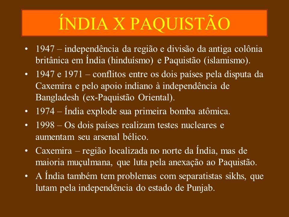 ÍNDIA X PAQUISTÃO 1947 – independência da região e divisão da antiga colônia britânica em Índia (hinduísmo) e Paquistão (islamismo).