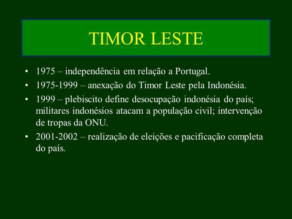 TIMOR LESTE 1975 – independência em relação a Portugal.