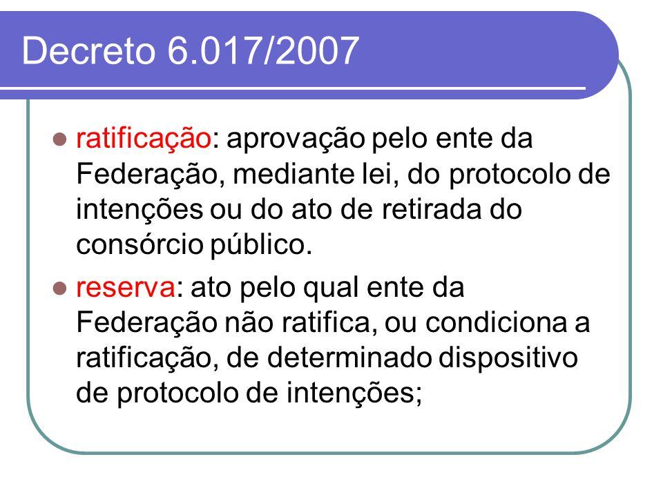 Decreto 6.017/2007 ratificação: aprovação pelo ente da Federação, mediante lei, do protocolo de intenções ou do ato de retirada do consórcio público.