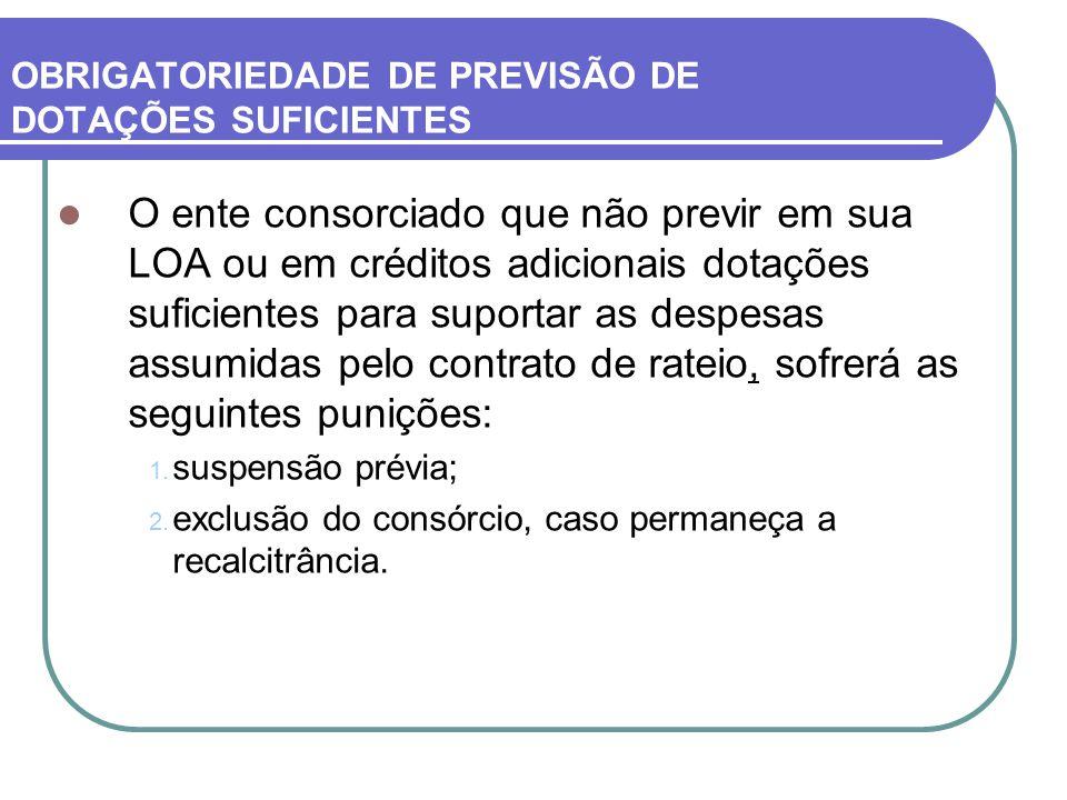 OBRIGATORIEDADE DE PREVISÃO DE DOTAÇÕES SUFICIENTES