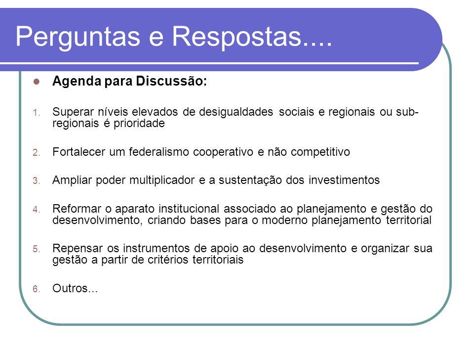 Perguntas e Respostas.... Agenda para Discussão: