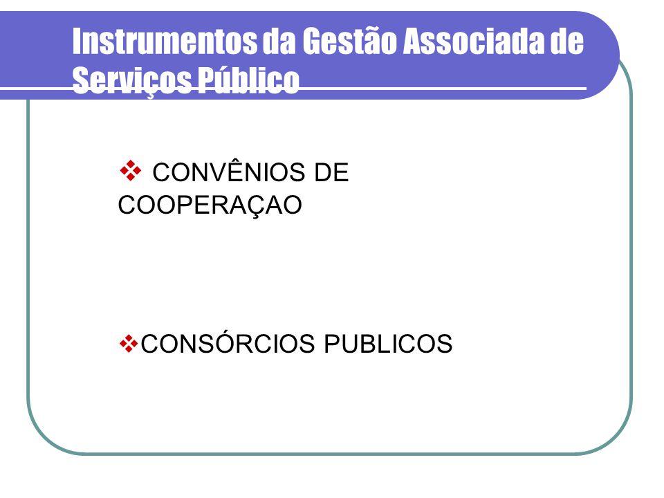 Instrumentos da Gestão Associada de Serviços Público