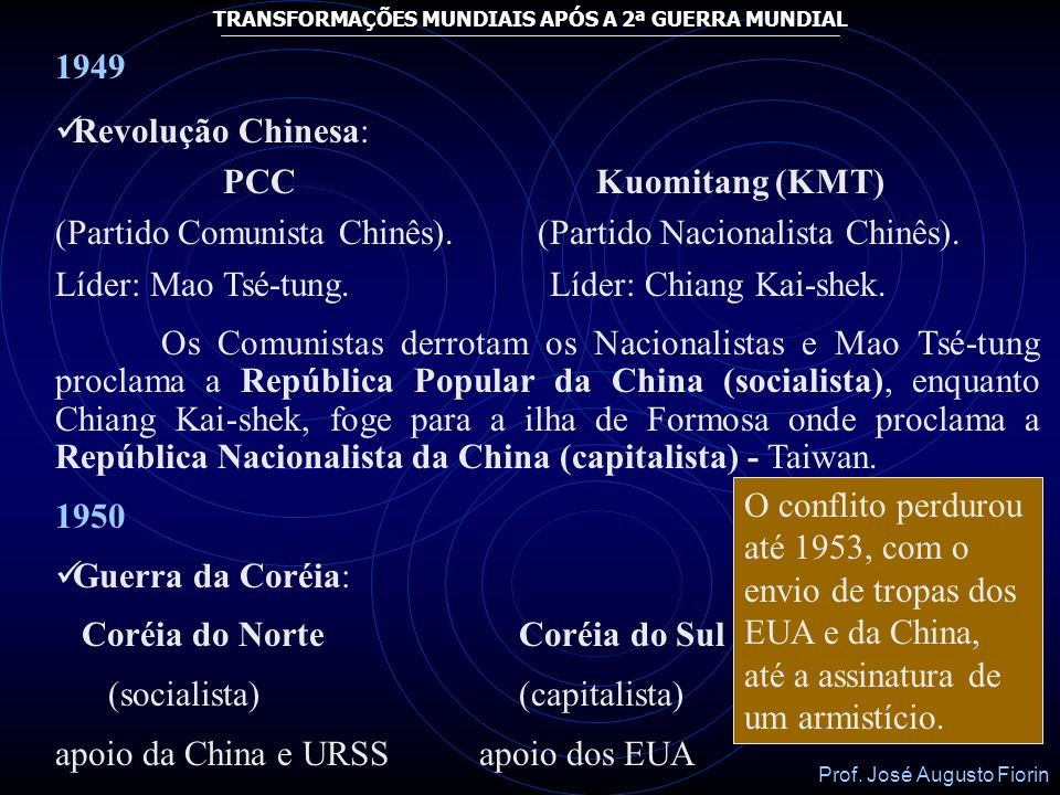 1949Revolução Chinesa: PCC Kuomitang (KMT) (Partido Comunista Chinês). (Partido Nacionalista Chinês).