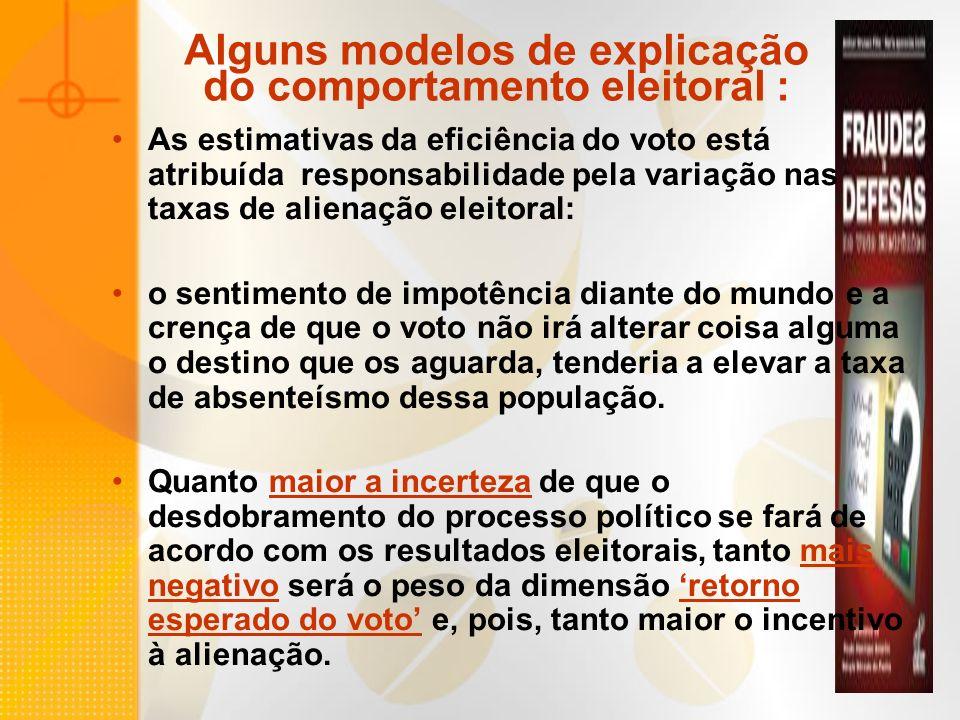 Alguns modelos de explicação do comportamento eleitoral :