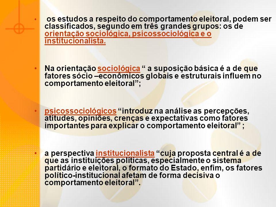 os estudos a respeito do comportamento eleitoral, podem ser classificados, segundo em três grandes grupos: os de orientação sociológica, psicossociológica e o institucionalista.