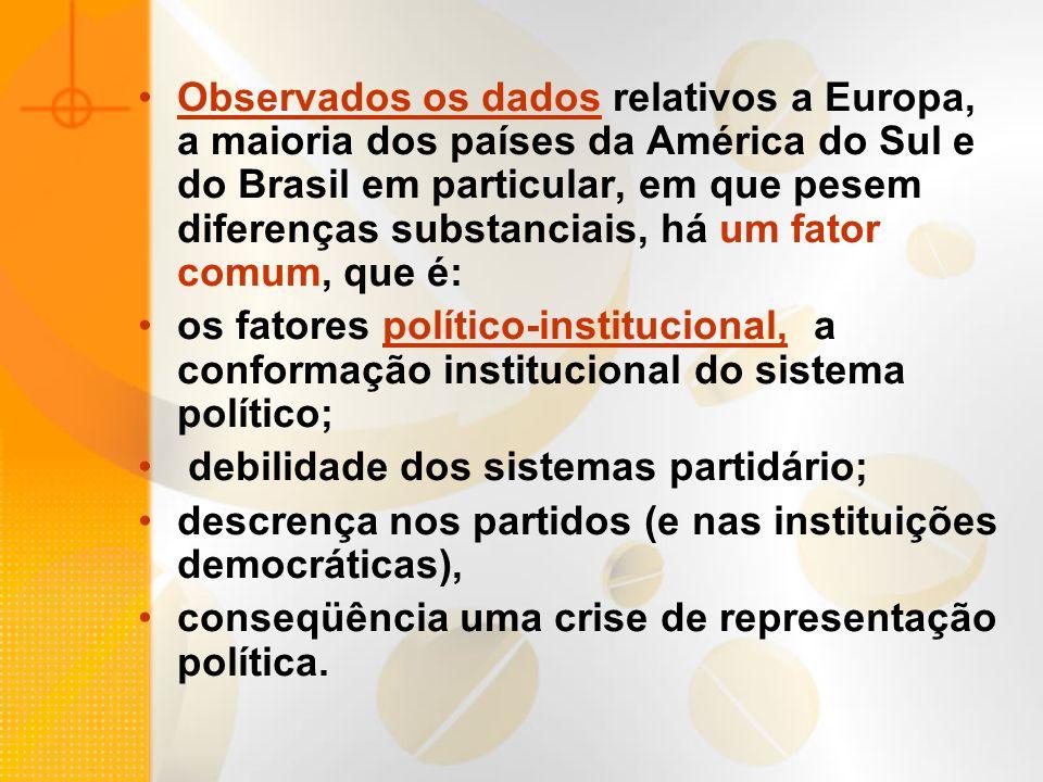 Observados os dados relativos a Europa, a maioria dos países da América do Sul e do Brasil em particular, em que pesem diferenças substanciais, há um fator comum, que é: