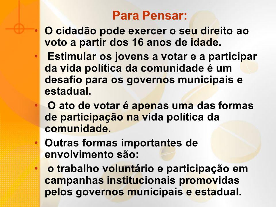 Para Pensar: O cidadão pode exercer o seu direito ao voto a partir dos 16 anos de idade.