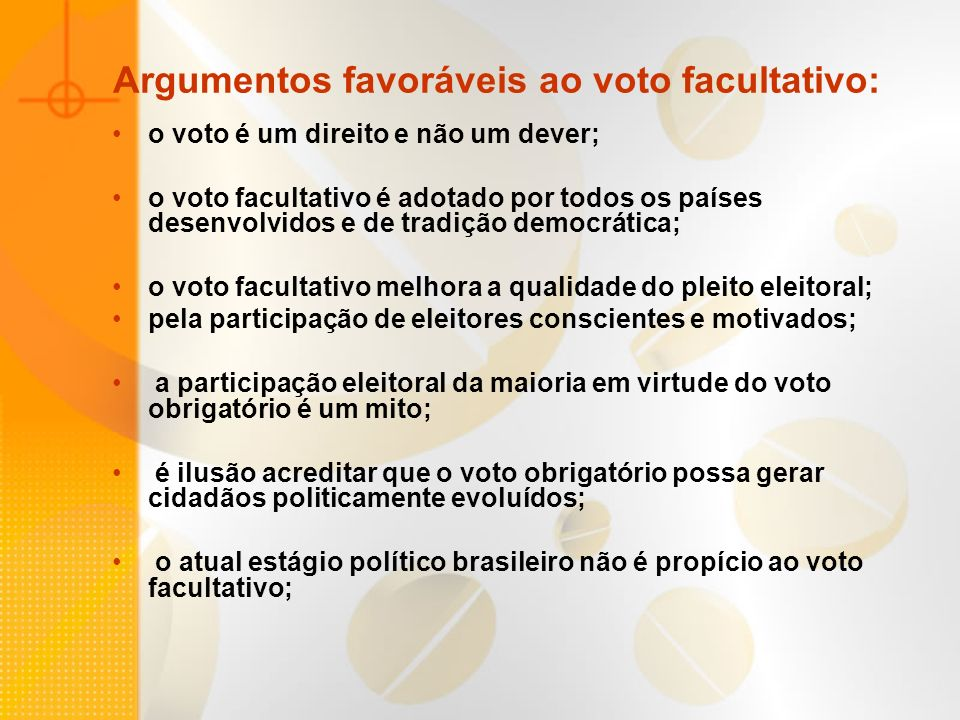 Argumentos favoráveis ao voto facultativo: