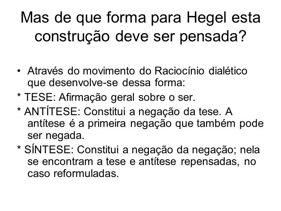 Mas de que forma para Hegel esta construção deve ser pensada