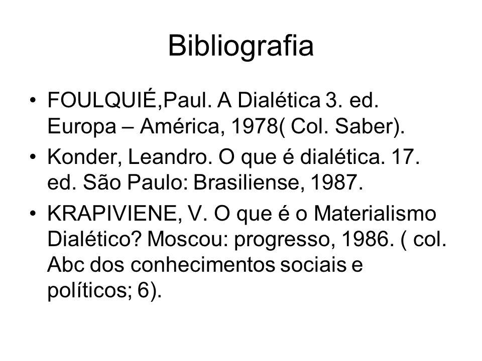 Bibliografia FOULQUIÉ,Paul. A Dialética 3. ed. Europa – América, 1978( Col. Saber).