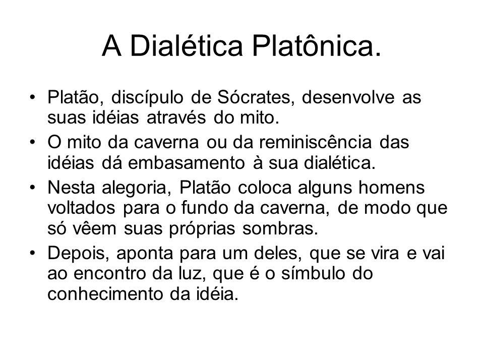 A Dialética Platônica. Platão, discípulo de Sócrates, desenvolve as suas idéias através do mito.