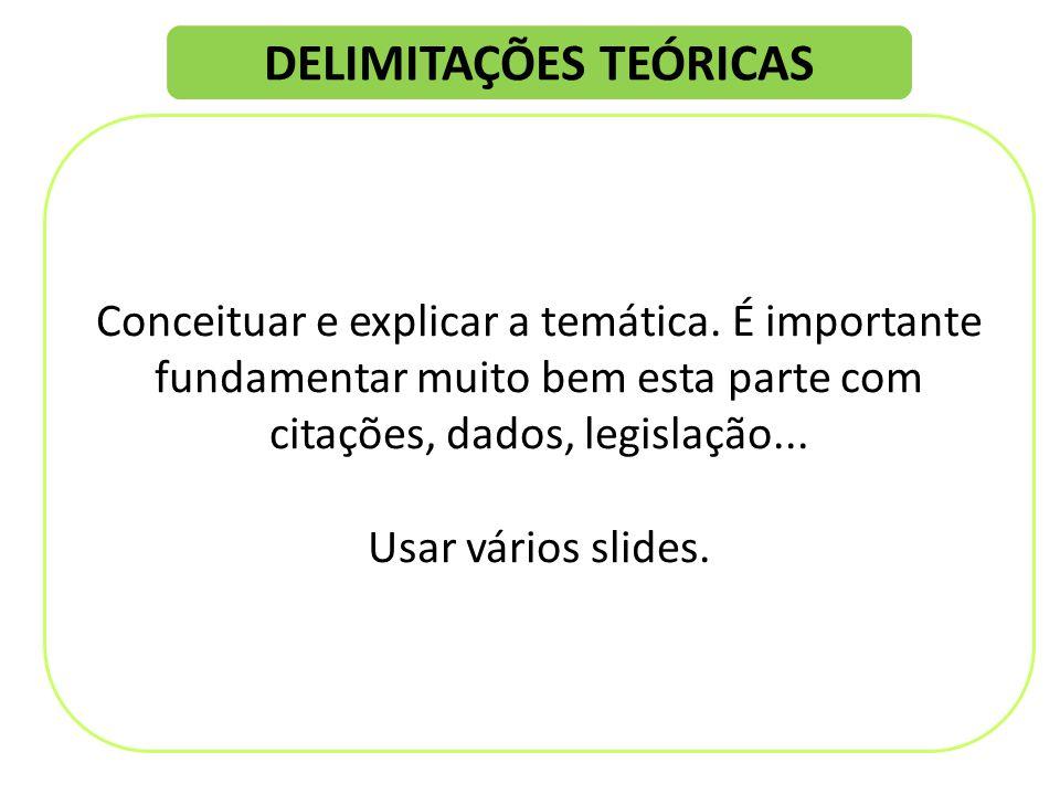 DELIMITAÇÕES TEÓRICAS