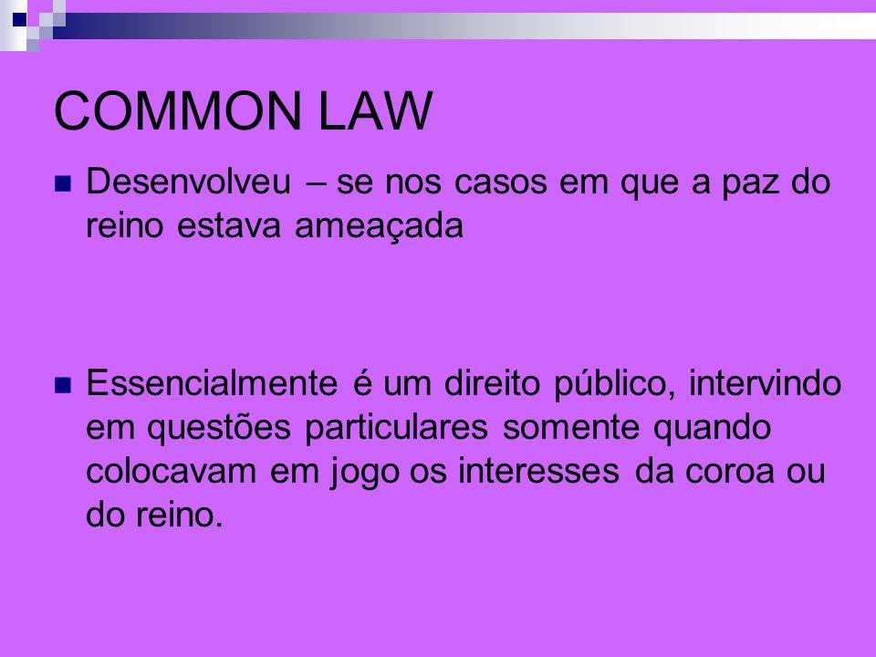 COMMON LAW Desenvolveu – se nos casos em que a paz do reino estava ameaçada.