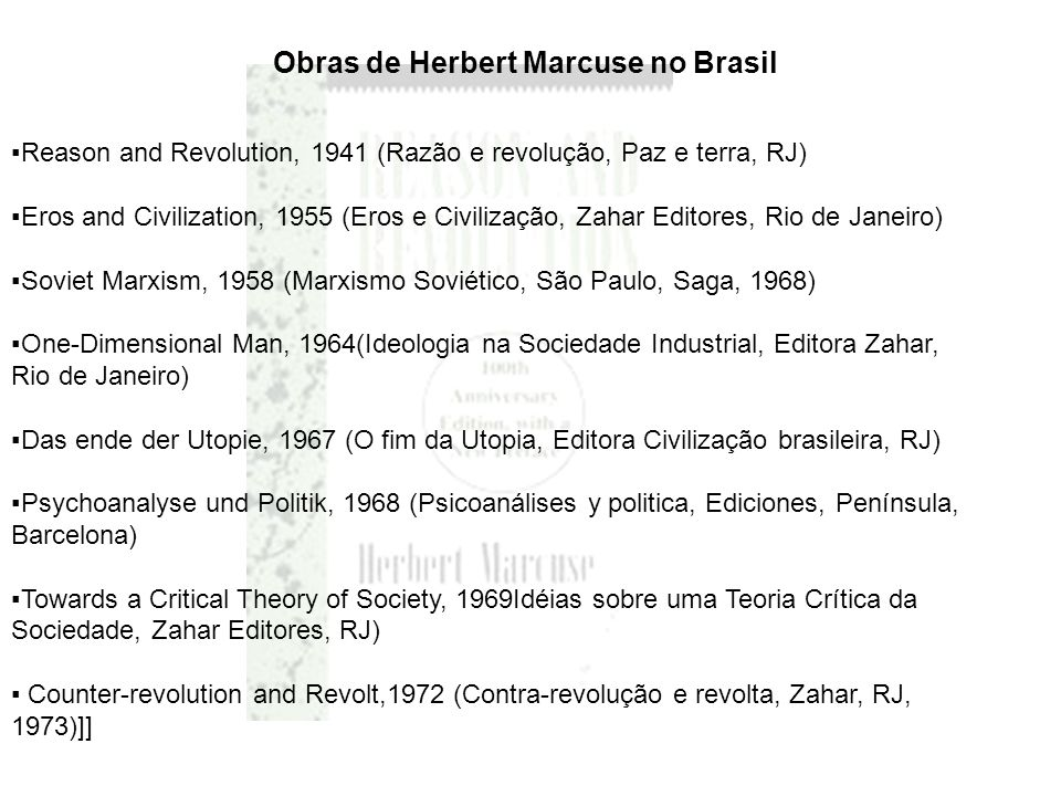 Obras de Herbert Marcuse no Brasil