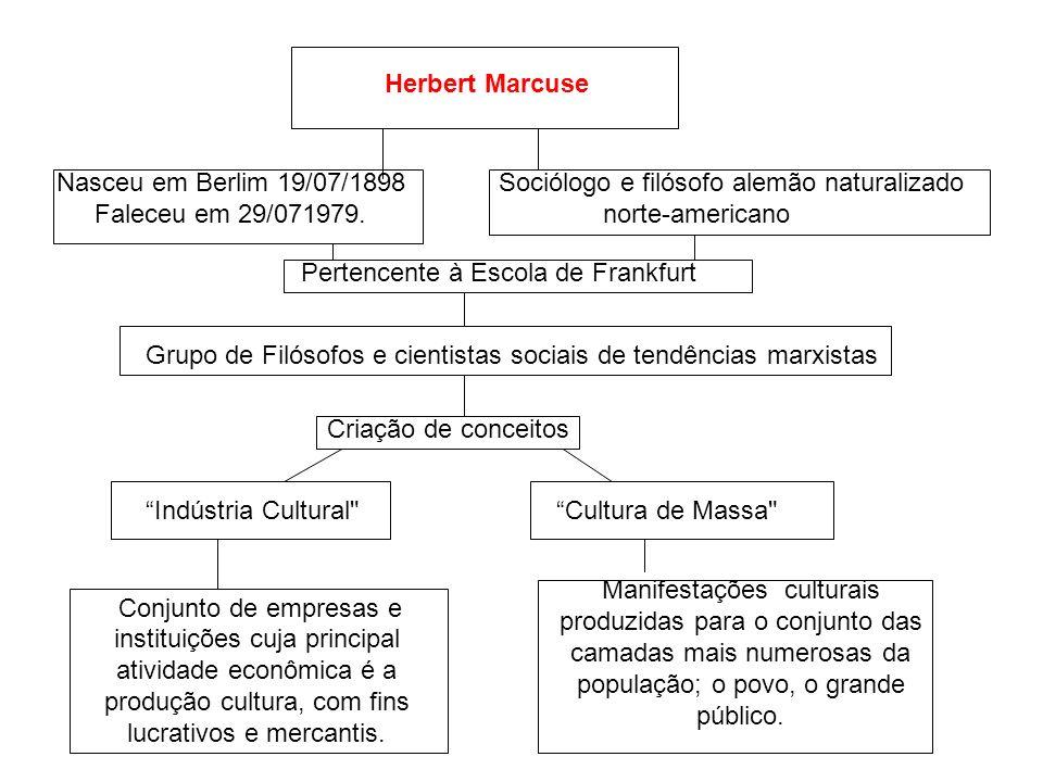 Herbert Marcuse Nasceu em Berlim 19/07/1898. Faleceu em 29/071979. Sociólogo e filósofo alemão naturalizado norte-americano.
