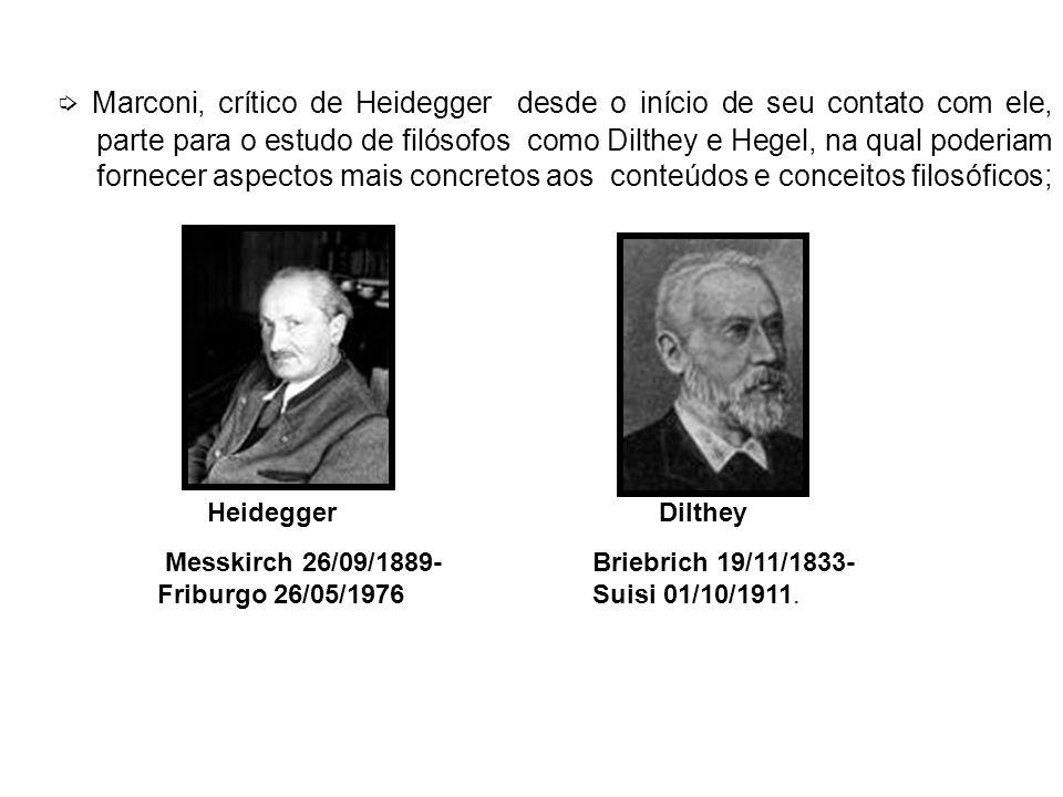➭ Marconi, crítico de Heidegger desde o início de seu contato com ele, parte para o estudo de filósofos como Dilthey e Hegel, na qual poderiam fornecer aspectos mais concretos aos conteúdos e conceitos filosóficos;