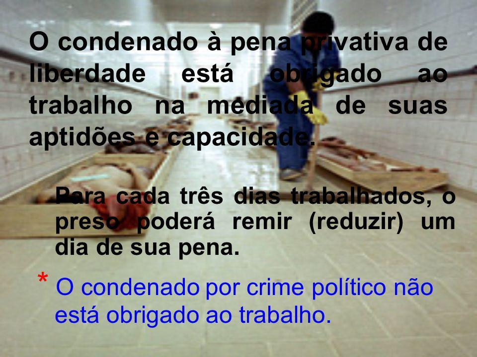 * O condenado por crime político não está obrigado ao trabalho.