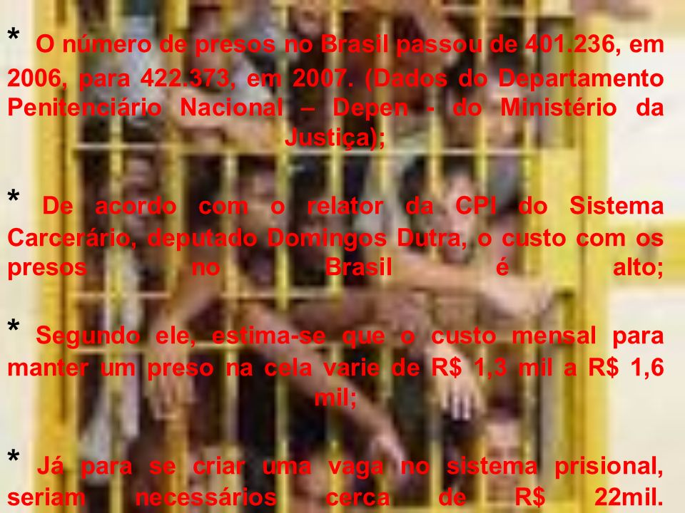 O número de presos no Brasil passou de 401. 236, em 2006, para 422