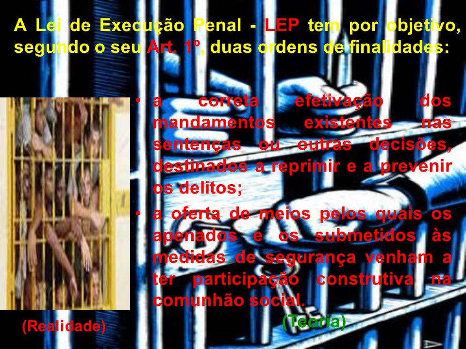 A Lei de Execução Penal - LEP tem por objetivo, segundo o seu Art