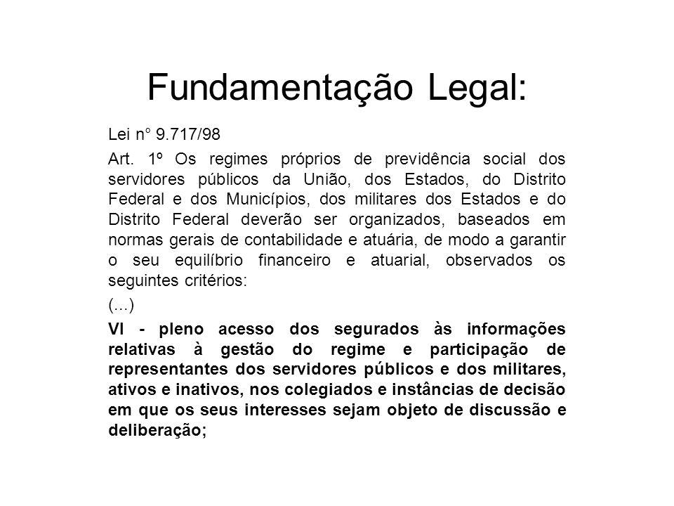 Fundamentação Legal: Lei n° 9.717/98