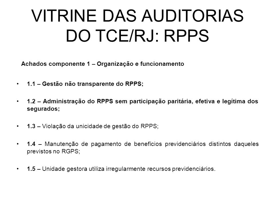 VITRINE DAS AUDITORIAS DO TCE/RJ: RPPS
