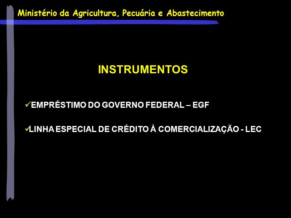 INSTRUMENTOS EMPRÉSTIMO DO GOVERNO FEDERAL – EGF LINHA ESPECIAL DE CRÉDITO À COMERCIALIZAÇÃO - LEC