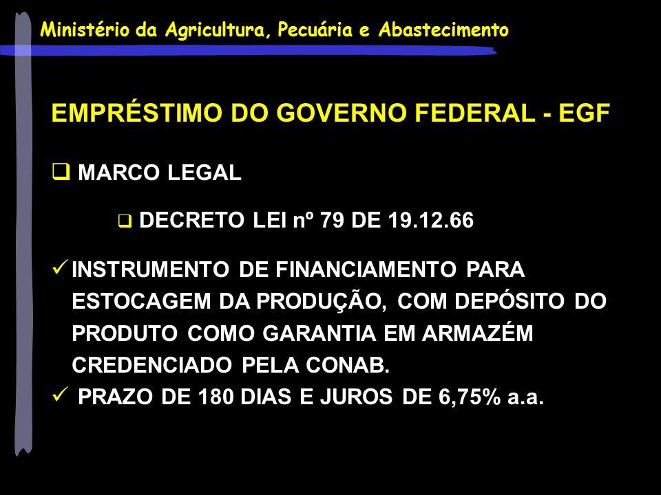 EMPRÉSTIMO DO GOVERNO FEDERAL - EGF