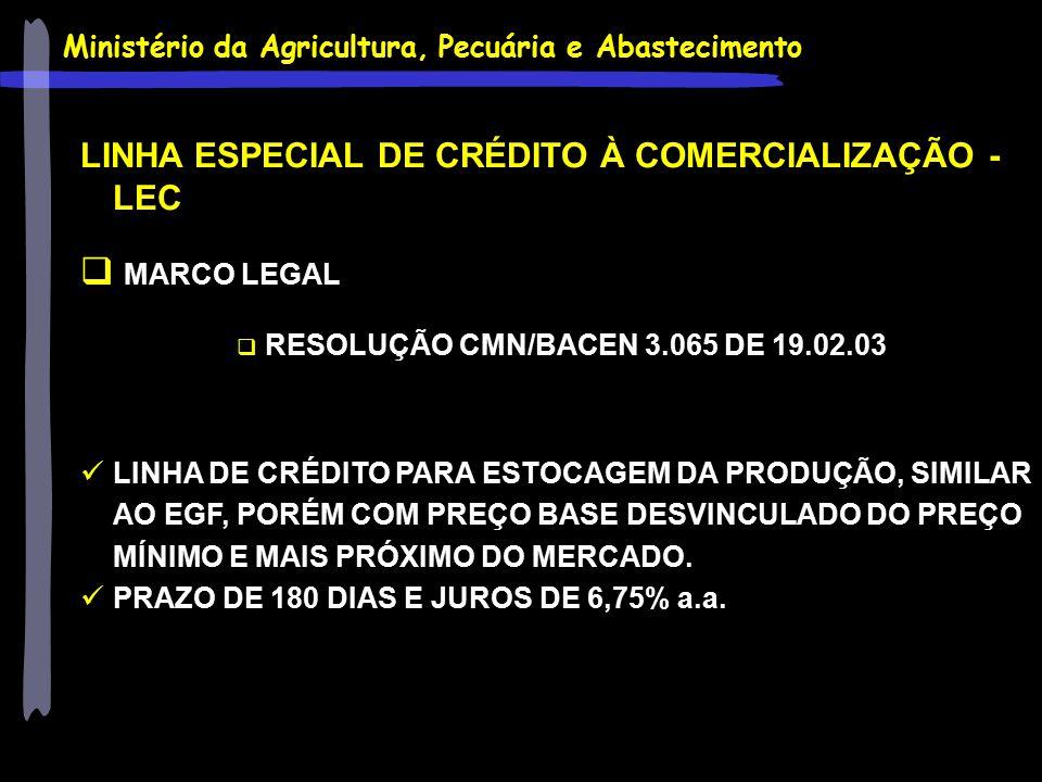 LINHA ESPECIAL DE CRÉDITO À COMERCIALIZAÇÃO - LEC