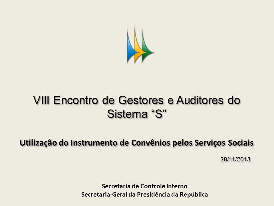 VIII Encontro de Gestores e Auditores do Sistema S Utilização do Instrumento de Convênios pelos Serviços Sociais