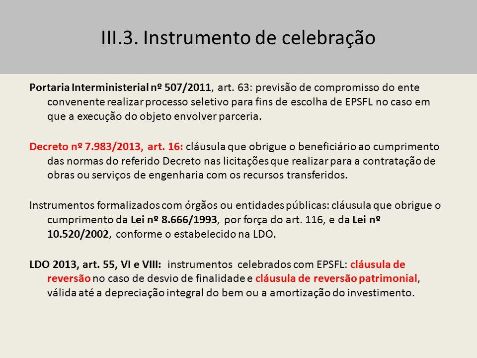 III.3. Instrumento de celebração