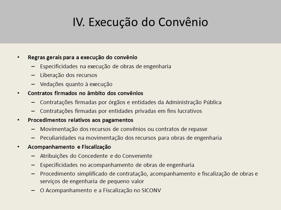 IV. Execução do Convênio