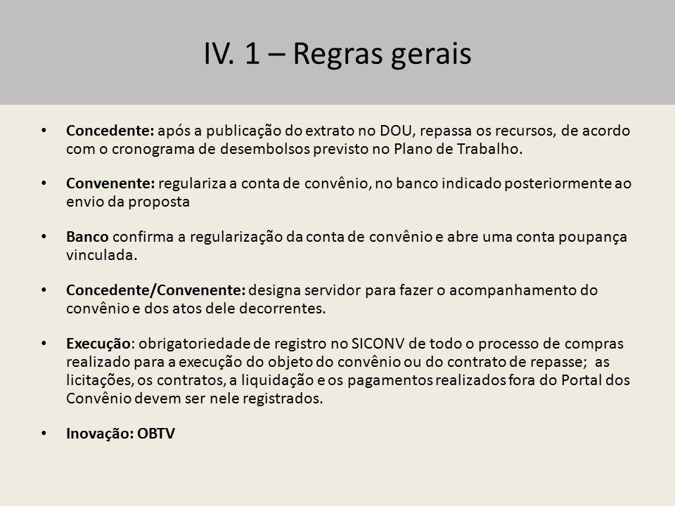 IV. 1 – Regras gerais
