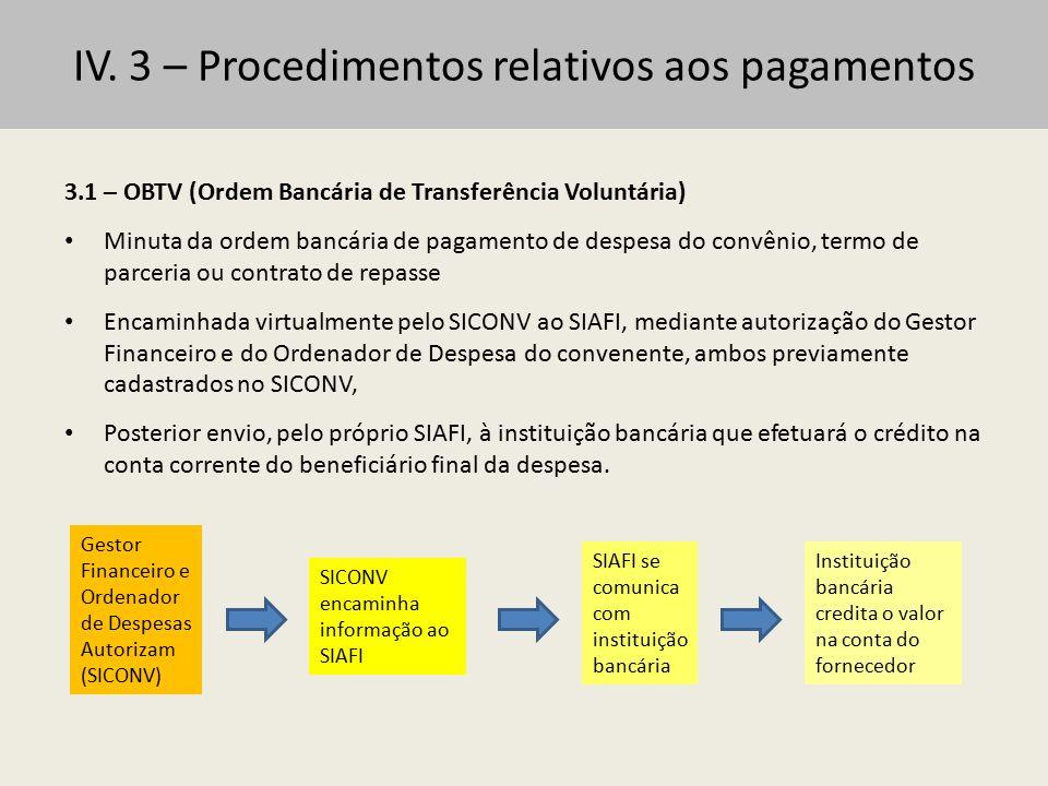 IV. 3 – Procedimentos relativos aos pagamentos